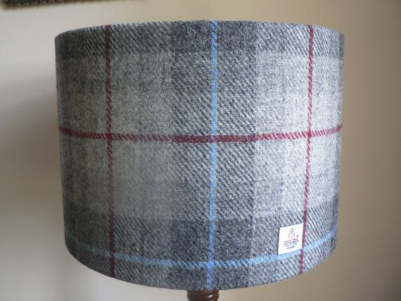 Harris Tweed Lampshade 30cm Grey Red and Blue by RubydoDesigns, £40.00