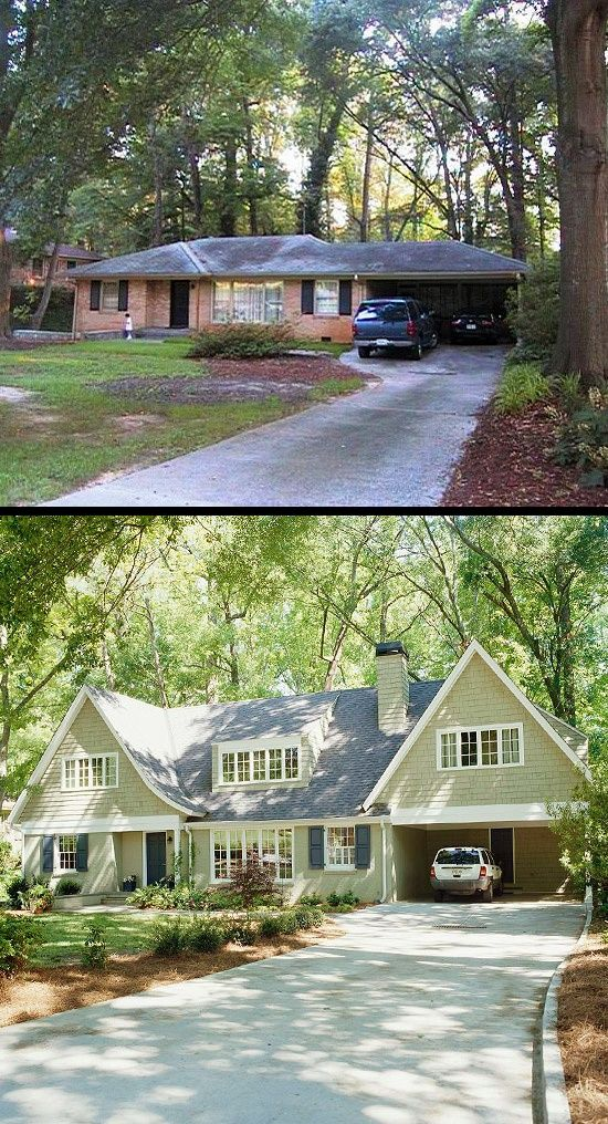 Before and after of a tired, brick, ranch. Hard to believe it's the same house!