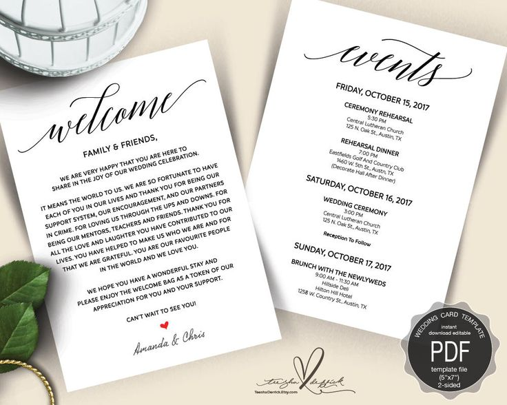 56 best wedding timeline card images on pinterest wedding wedding welcome and itinerary card editable pdf template timeline card wedding weekend junglespirit Images
