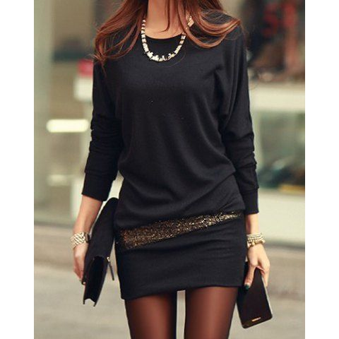 Simple Style Scoop Neck Long Sleeve Sequin Embellished Packet Buttock Cotton Blend Women's Dress