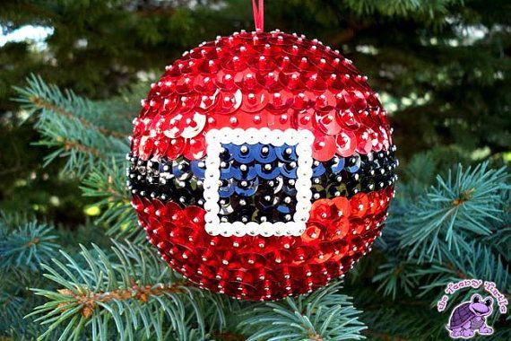 Santa Belt Sequin and Bead Christmas Ornament
