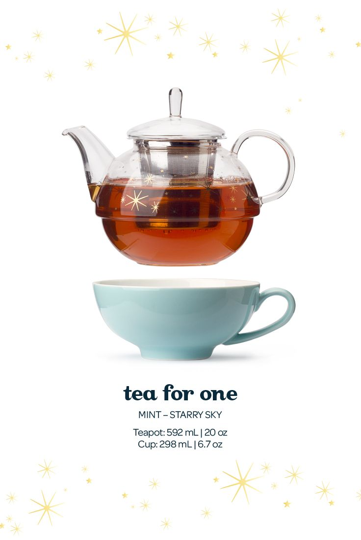 This cute little set has everything you need for a tea party of one: a pretty glass teapot, an elegant white porcelain cup, and a stainless steel infuser. And the best part? It all fits perfectly together.