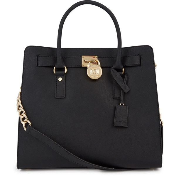 Womens Tote Bags Michael Kors Hamilton Black Saffiano Leather Tote ($435) ❤ liked on Polyvore featuring bags, handbags, tote bags, purses, black, saffiano leather handbags, michael kors handbags, michael kors, michael kors tote and tote purse