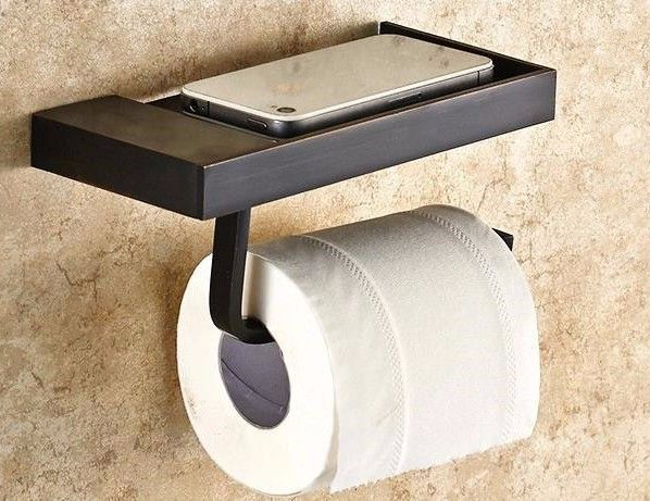 Siyah Duvara Monte Tuvalet Kağıtlık