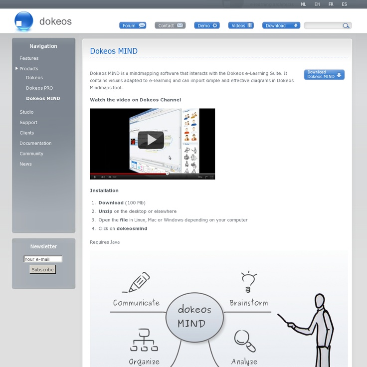 Dokeos MIND is a mindmapping software that interacts with the Dokeos e-Learning Suite. It contains visuals adapted to e-learning and can import simple and effective diagrams in Dokeos Mindmaps tool.