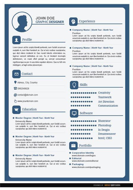 this is a simple resume  in white and blue colors  with the most important information fields
