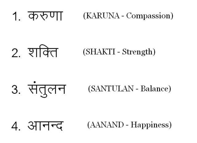 Gemma Translations (Compassion, Strength, Balance, Happiness)