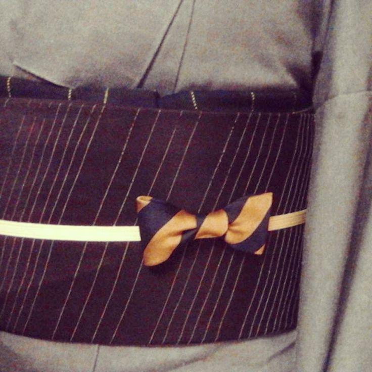 デニムの着物とななめストライプの帯とヒゲ 名古屋市西区 着付け教室Polaris(ポラリス)