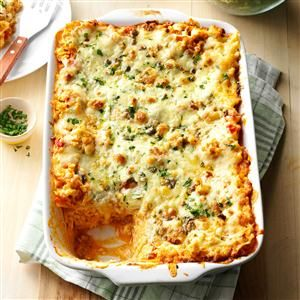 Buffalo Chicken Lasagna Recipe -This recipe was inspired by my daughter's favorite food - Buffalo wings! It tastes just like it came from a restaurant. --Melissa Millwood, Lyman, South Carolina