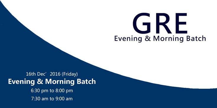Join #GRE #Coaching at Krishna Consultants. Morning and Evening Batches starting from 16th Dec 2016.