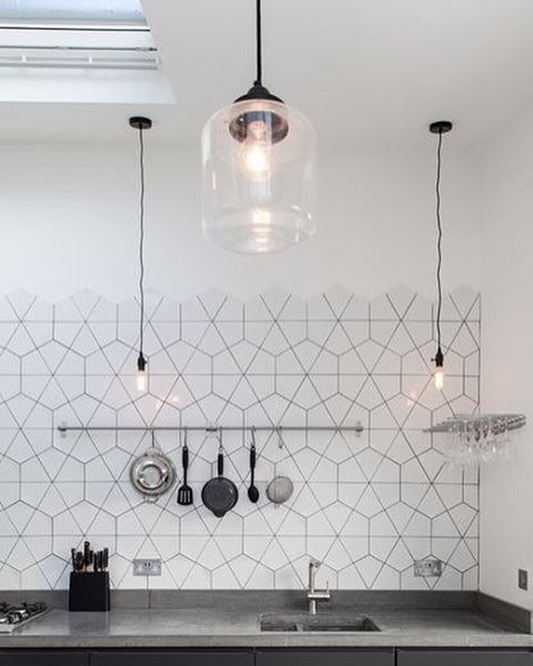 Hexagon Tile // photo via mrspolka-dot.com blog #designinspo #hexagontiles #interiordesign #kitchendesign #interiors