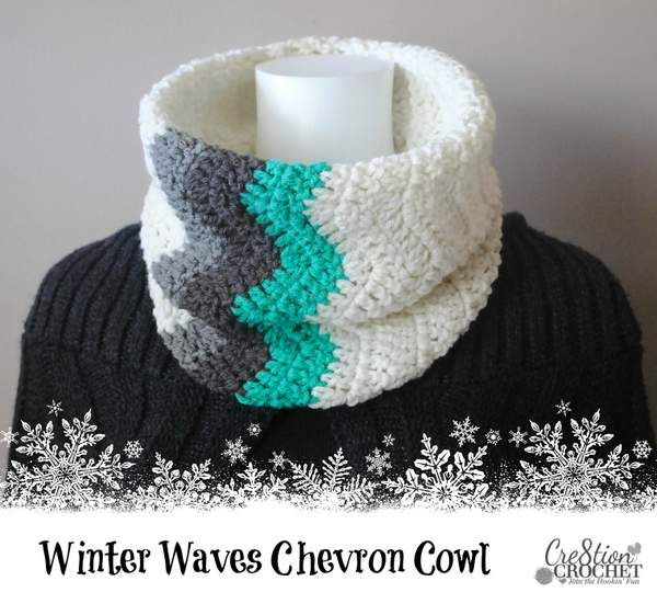 Winter Waves Chevron Cowl Free Crochet Cowl Pattern This simple chevron cowl is super easy and quick to work up. The punch of ombre color blocking really gives it a great visual punch. This post contains affiliate links. You can click on any yarn or material highlighted to purchase By using this pattern you agree …