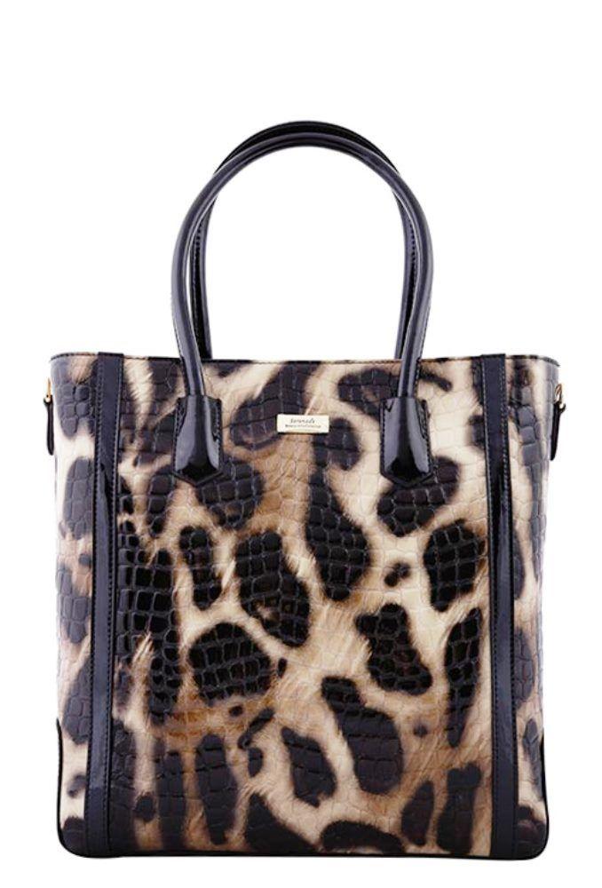 Serenade Lynx Glossy Cheetah Print Tall Leather Handbag. SH54-7510.