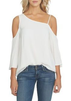 1. State Women's One Shoulder Flounce Sleeve Blouse - Cloud - M