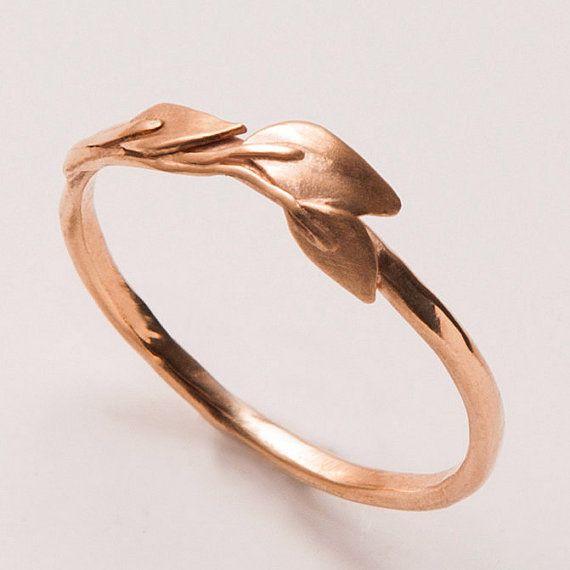 Leaves Ring - 14K Rose Gold Ring, unisex ring, wedding ring, wedding band, leaf ring, filigree, antique, art nouveau, vintage