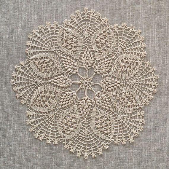 GARDENIA DOILY Crochet Doily Lace Doily Round by KCraftsBoutique, £32.00