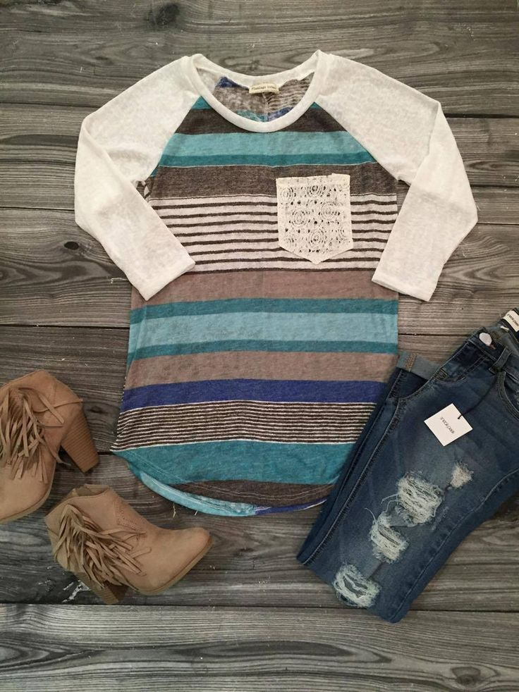 Lace Pocket Striped Today Top