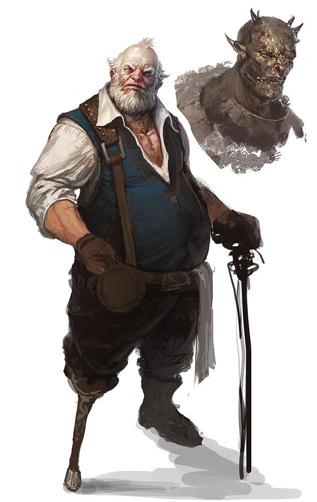 An old man, perhaps a former mercenary?