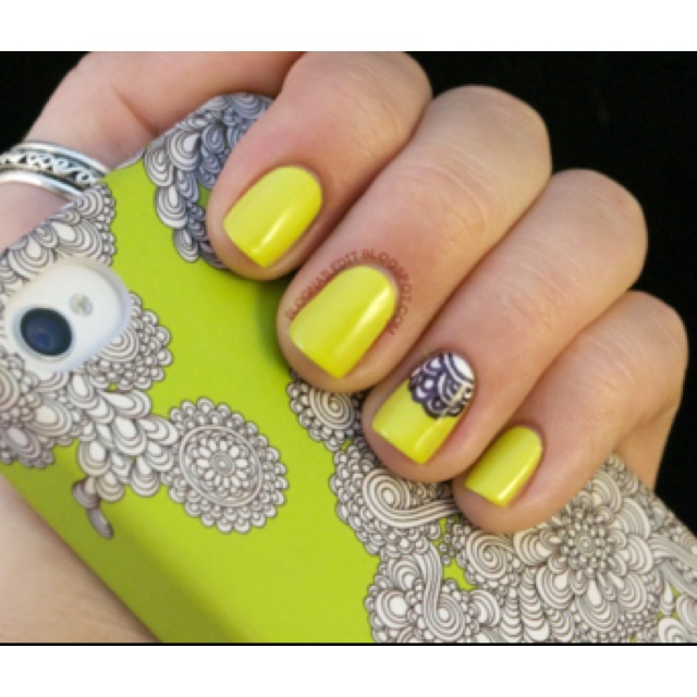 : Nailart, Color, Makeup, Phone Cases, Yellow Nail, Nail Design, Nails, Nail Art