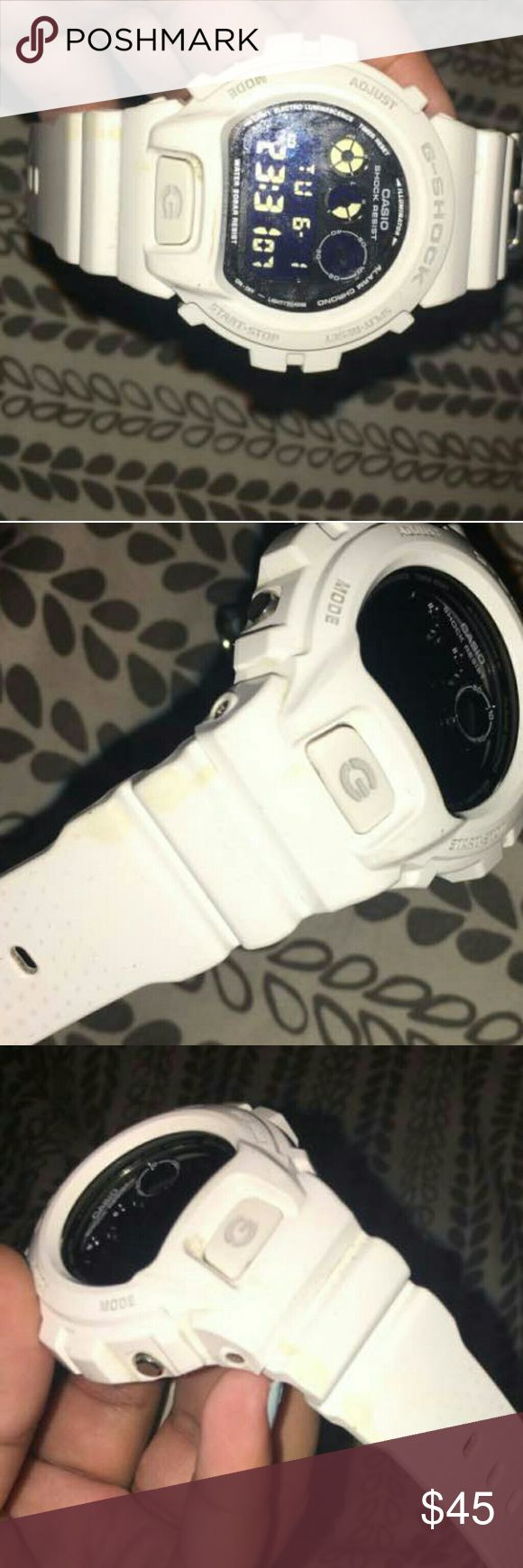White G Shock White G shock used a couple times. Minor discoloration throughout the watch band . Military time Timer  Glow in the dark button works  Great condition minor scratches Needs a new home. Accepting reasonable offers. G-Shock Accessories Watches