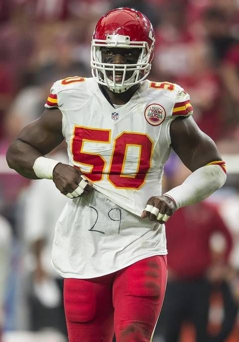 Kansas City Chiefs outside linebacker Justin Houston lifted his jersey with #29 for teammate Eric Berry written on his undershirt after a sack last season.