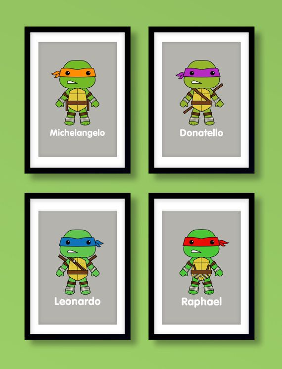 Ninja Turtles wall art boys wall art Teenage Mutant by MiniHeroes, £18.99