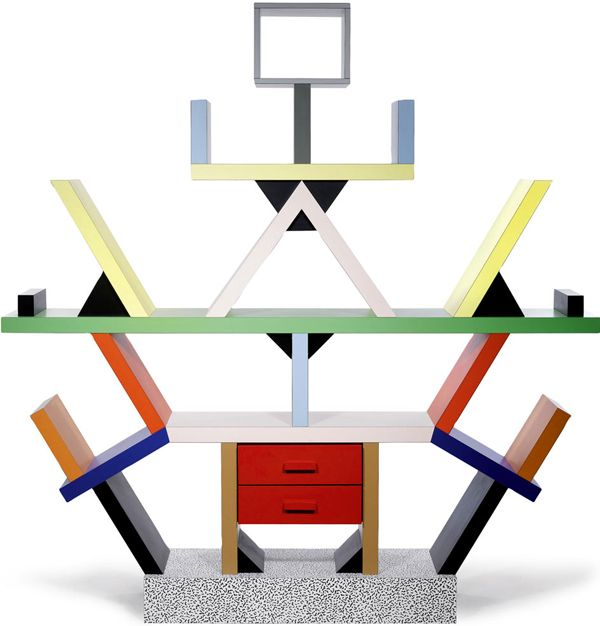 The Memphis Milano Group was founded in 1980 by a group of designers led by famed Italian architect and designer Ettore Sottsass. The Memphis Milano Collection of furniture drew inspiration from Art Deco and Pop Art. The cabinets represented here are brightly-coloured and their unconventional shapes disregard the conventional function.