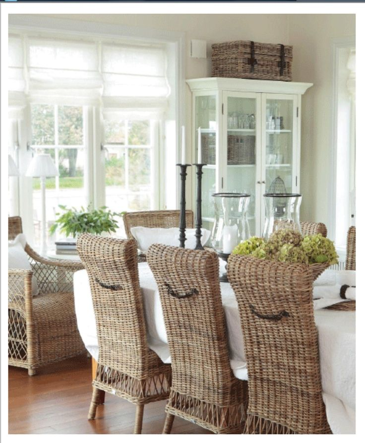 Timeless Wicker Dining Room Chairs For Coastal Beachy Style, Love These  High Back Chairs Teamed With All The White And The White Bookcase With  Rattan Trunk ...