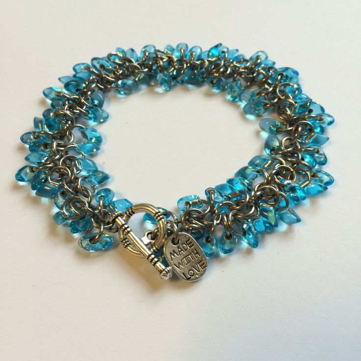 Blue beaded chainmaille bracelet by TrinketFairyDesigns on Etsy