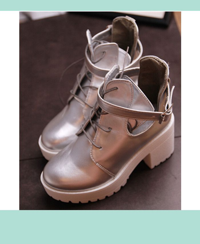 Find More Information about 2015 Lace Up High Heels Women Punk Style Ankle  Boots,Thick
