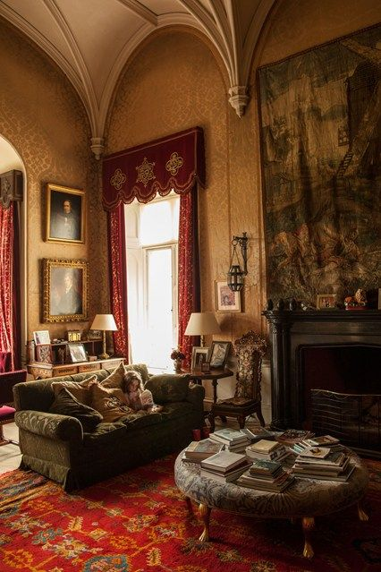 Drawing room at Lismore Castle, County Waterford, Ireland