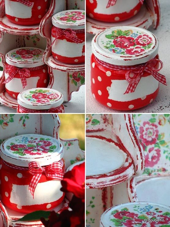 Paint storage tins/jars and add dots (using a pencil eraser end). [Can also add decal on lid &/or white paint band for labelling. ~> Making storage pretty!