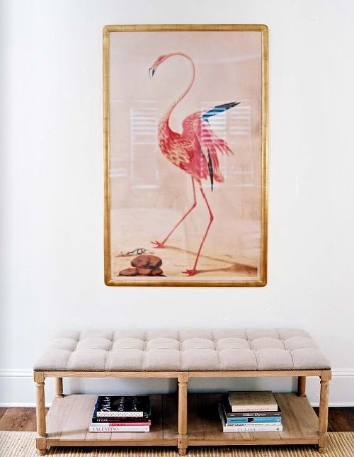 Love this flamingo art and the bench