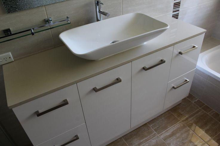 Bathroom Renovation Thornlie  1200mm Melunda Range   Beige Engineered Stone Top   Waterbed Vessel Basin