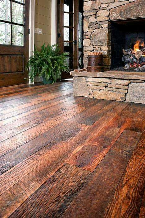 Love this floor and the rocks on the fireplace!! Rustic Wood ... - 25+ Best Ideas About Rustic Wood Floors On Pinterest Rustic