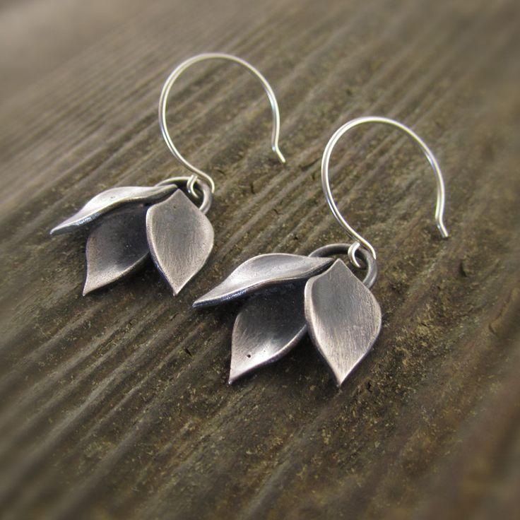 Modular Modern Leaf Cluster Dangle Sterling Silver Earrings by Kelly Gilligan More