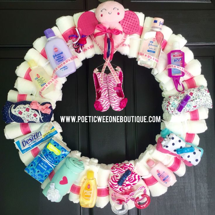 Baby Shower Wreath Instructions: The Ultimate Diaper Wreath Girl Sassy & Sweet Coming Soon
