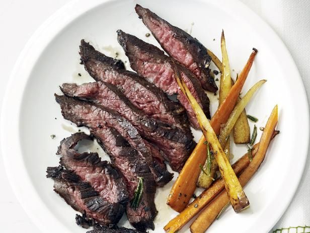 Skirt Steak with Roasted Root Vegetables: Skirt steak is known for its beefy flavor and low cost, but it can be a bit chewy, so it benefits from a quick marinade before it's grilled.