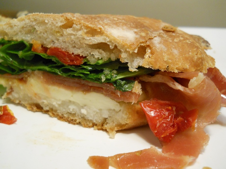 Serrano Ham, Arugula, Mozzarella, Sun dried Tomatoes on Olive Ciabatta