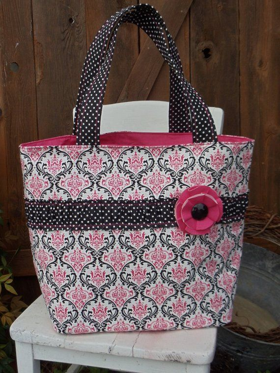 "The ""OUT & ABOUT"" Tote Bag Shabby Chic design in black /  white / hot pink  extra large size – Etsy"