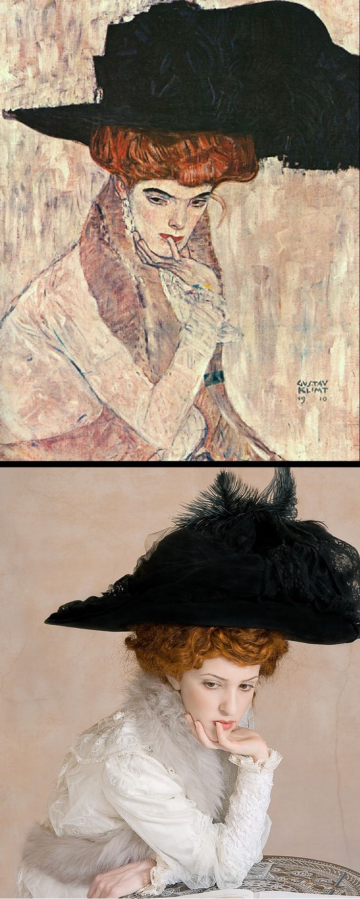 The Black Hat by Gustav Klimt (1910) / The Black Hat by The Essence of Decadence http://www.tanialazlo.com/the_essence_of_decadence.html