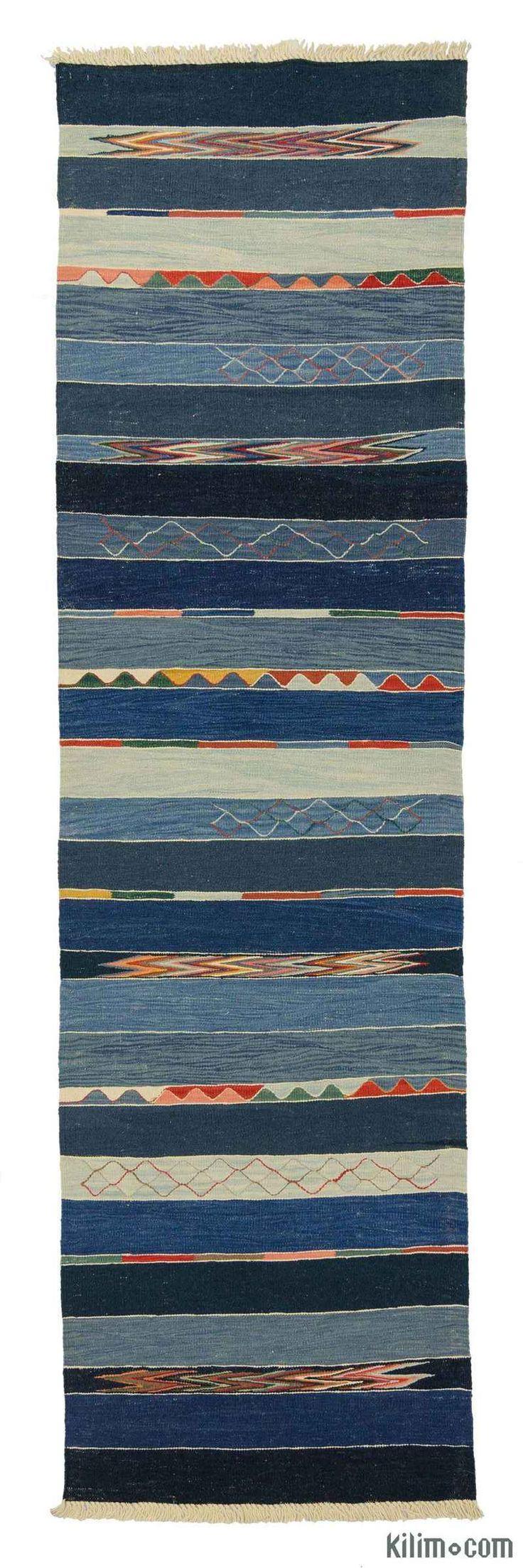 K0007971 Blue, Light Blue New Turkish Kilim Rug - LUWIA   Kilim Rugs, Overdyed Vintage Rugs, Hand-made Turkish Rugs, Patchwork Carpets by Kilim.com