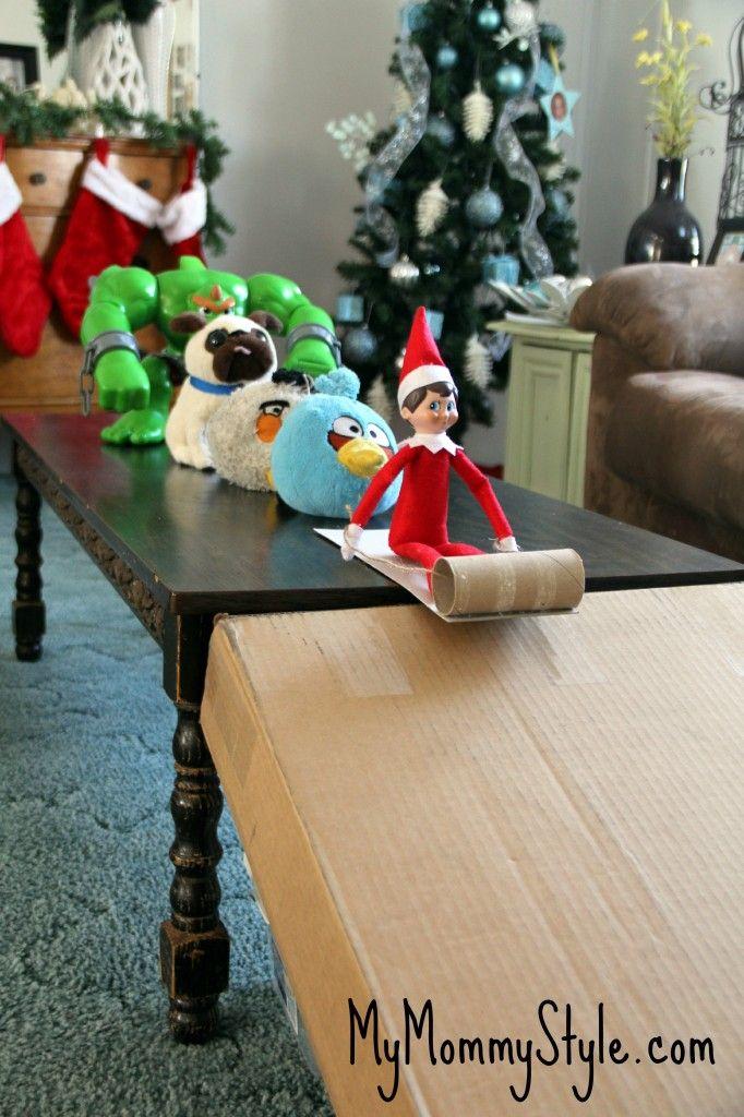 Fun Elf on the Shelf Idea   Sledding in the house!