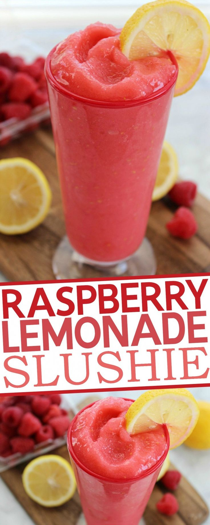 Raspberry Lemonade Slushie Recipe INGREDIENTS 2 cup fresh Raspberries (frozen) Juice of 2 Lemons 1/2 cup Sugar 2 cup Ice Cubes  DIRECTIONS Toss ingredients in blender and blend until ready.