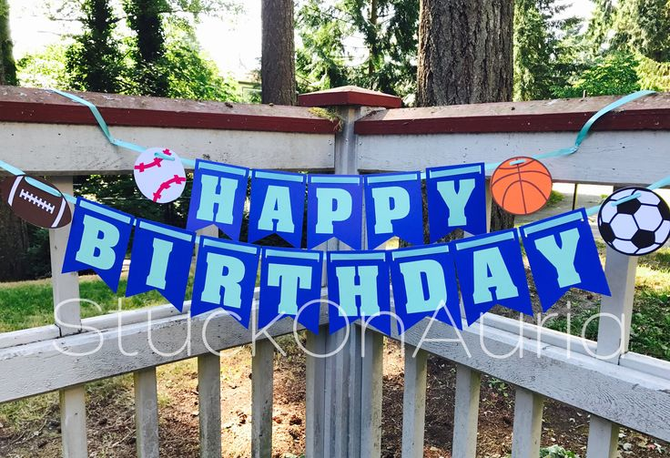 Celebrate your Sports Fanatics birthday with this cute and customizable Happy Birthday banner! DETAILS - You will receive one banner with the phrase Happy Birthday - Made with 65lb card stock paper, strung on Teal ribbon - Each letter will be strung separately. If you would prefer the words to be strung in a different way, please let us know in the Notes to Seller during checkout.  MEASUREMENTS - Each flag measures 5.5 x 3.5 inches - Letters measure 2.75 inches tall.  COLORS - Blue and teal…