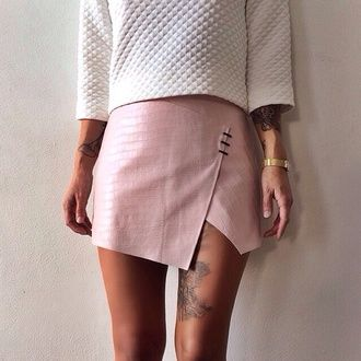 skirt pink texture top leather skirt hipster instagram alternative pink skirt quilted white sweater fashion inspo on point clothing trendy dope blogger popular sweater rad skorts cute light pink light mini skirt chic style model tumblr summer fashion summer accessories moto moto skirt muave muave skirt indie grunge dusty pink snake print spring