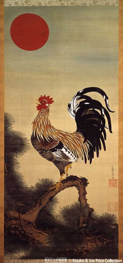 Jakuchu Ito_rooster and red sun