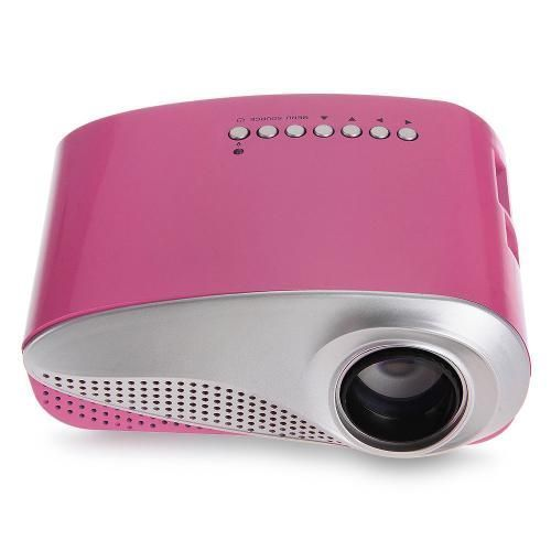 Mini Projecteur Vidéoprojecteur LED Vidéo Audio Multimédia HDMI USB SD VGA Rose