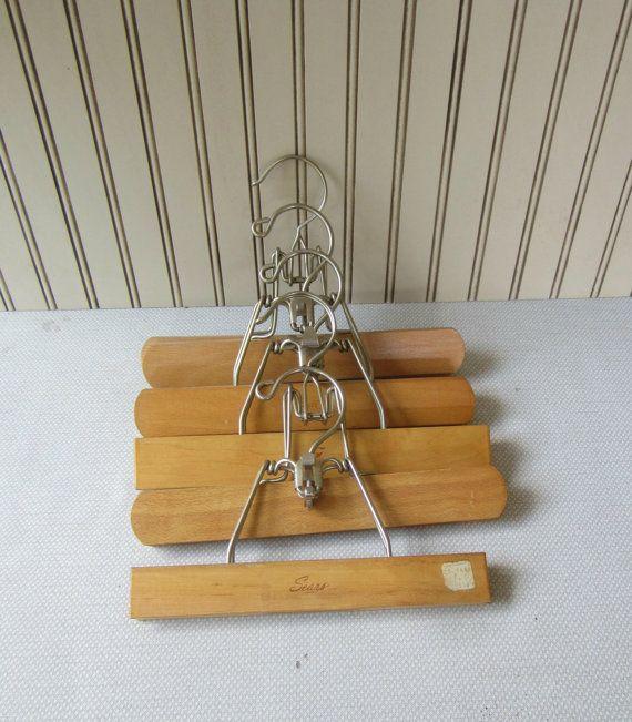 set of 5 wooden pants hangers vintage wooden hangers setwell u0026 sears wood clamp hangers