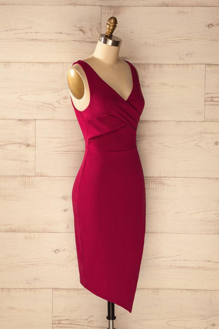 Lenvik Magenta - Magenta asymmetrical dress with crossed neckline